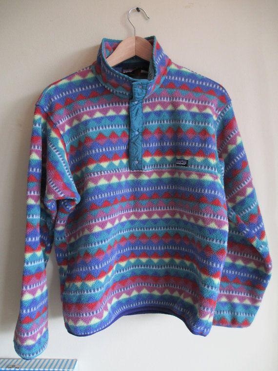 rare vintage patagonia aztec tribal print pullover fleece snap