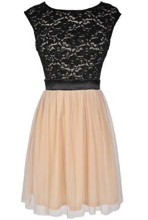 Prepare To Dazzle Black Lace and Ivory Tulle Dress www.lilyboutique.com