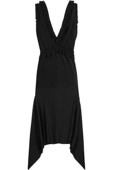 Givenchy - Pleated Midi Dress In Black Stretch-satin - FR36
