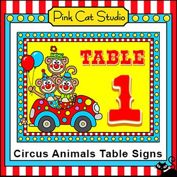 Circus Animal Theme Table Signs: These fun circus animals theme table signs will look fantastic in your classroom! Signs for tables 1 to 8 are included. By Pink Cat Studio
