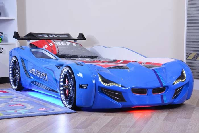 Mercedes Blue Car Bed With Bulging Wings And Led Lights Race Car Bed Car Bed Kids Car Bed