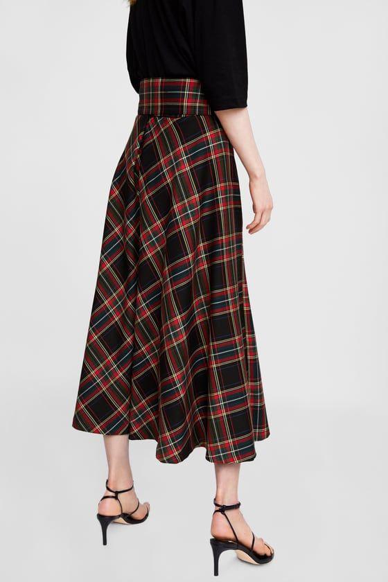 bfbe91c9f3eaf7 Image 5 de JUPE MI-LONGUE À CARREAUX de Zara | Outfit gonna midi en ...
