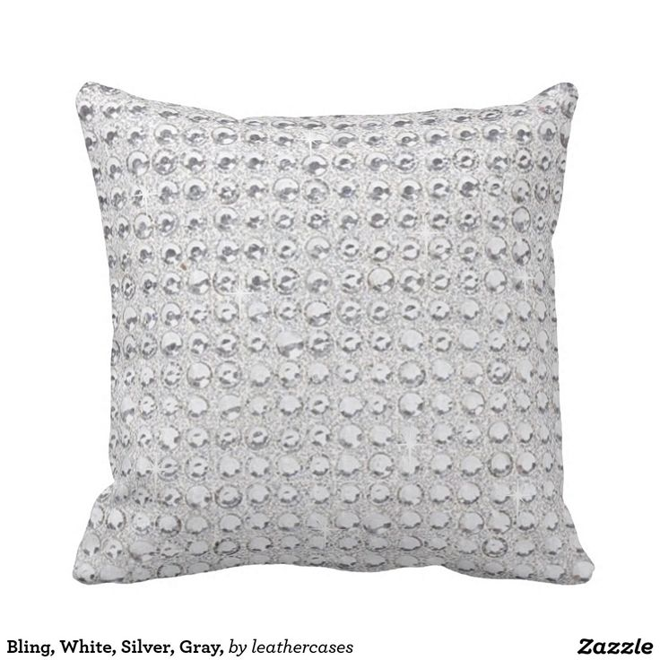 bling white silver gray throw pillow