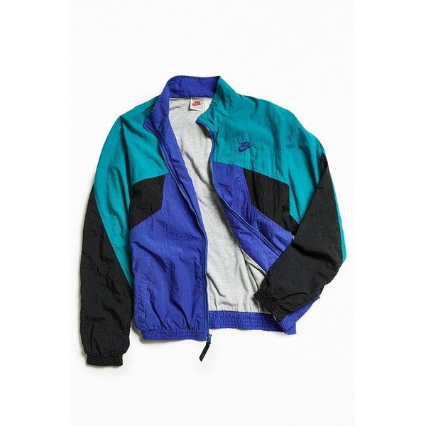 Vintage Nike Windbreaker Jacket ($98) ❤ liked on Polyvore featuring men's fashion, men's clothing, jackets, vintage mens clothing, vintage men's fashion and urban outfitters mens clothing