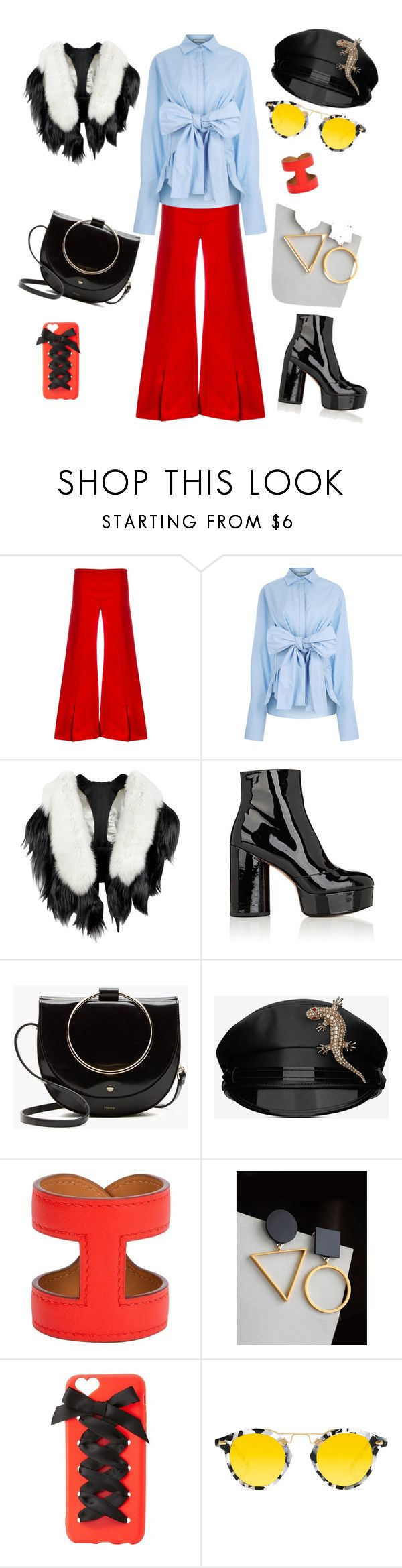 """""""с чем носить красные штаны"""" by domorg-penza ❤ liked on Polyvore featuring Thierry Mugler, CO/MUN, Fearfur, Marc Jacobs, Yves Saint Laurent, Hermès, WithChic, Charlotte Russe and Krewe"""