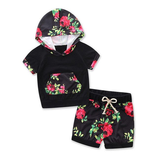 Black & Red Floral Hoodie & Shorts 2pc Outfit