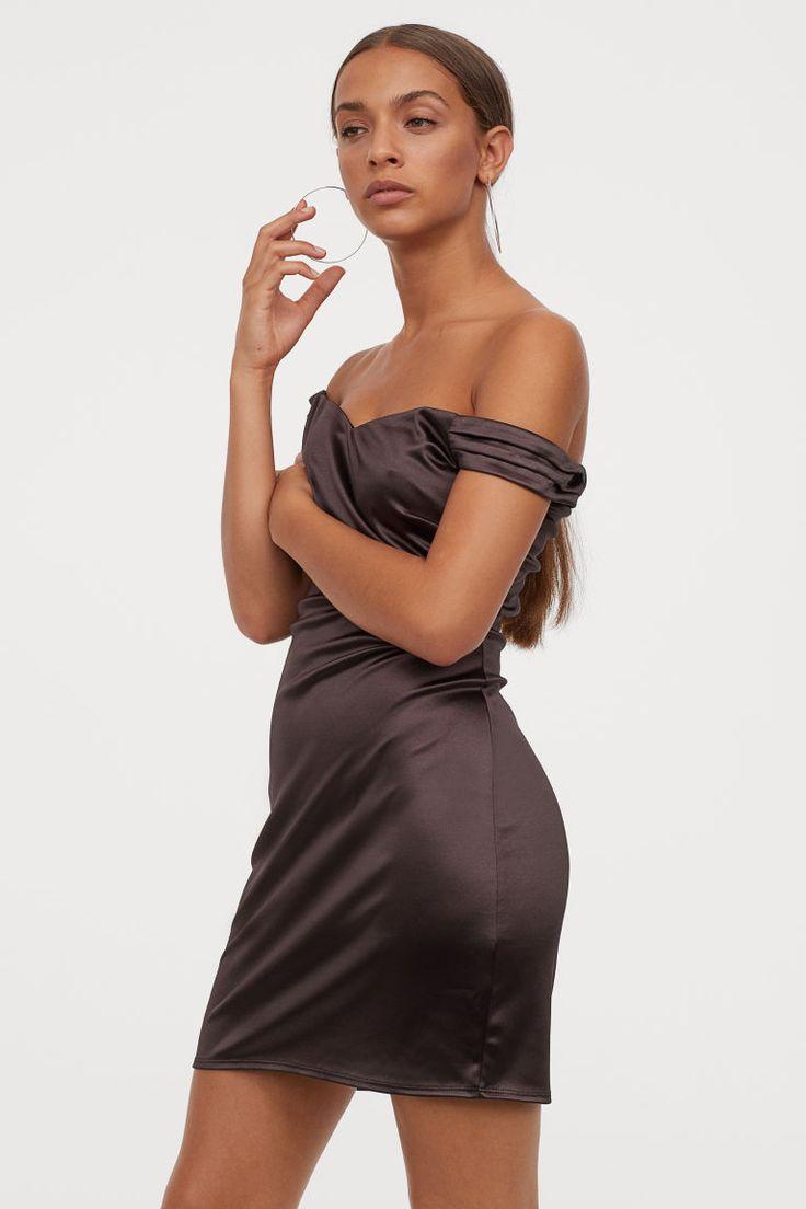 Kurzes Off-Shoulder-Kleid | Kleider h&m, Schulterfreies ...