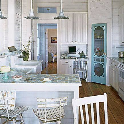 That Screen Door blue and white kitchen with beadboard