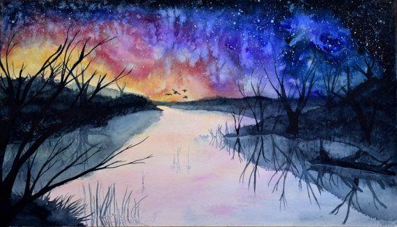 Original Landscape Painting, Watercolor Landscape, Landscape art, Abstract Painting, Watercolor Painting, Nature painting, Wall art, River