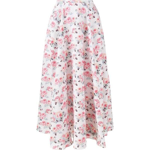 Emilia Wickstead Emilia Wickstead Floral Print 'Eleanor' Midi Skirt (34,695 MXN) ❤ liked on Polyvore featuring skirts, white, high-waist skirt, high waisted midi skirt, high-waisted midi skirts, high waisted skirts and white knee length skirt