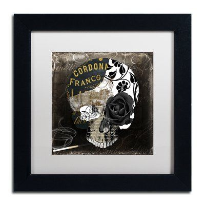 """Trademark Global 'Paris Halloween II' by Color Bakery Framed Graphic Art Mat Color: White, Size: 16"""" H x 16"""" W x 0.5"""" D"""