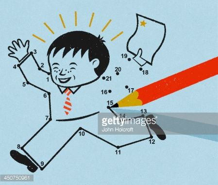 Stock Illustration : Pencil connecting dot drawing of happy schoolboy with gold star award