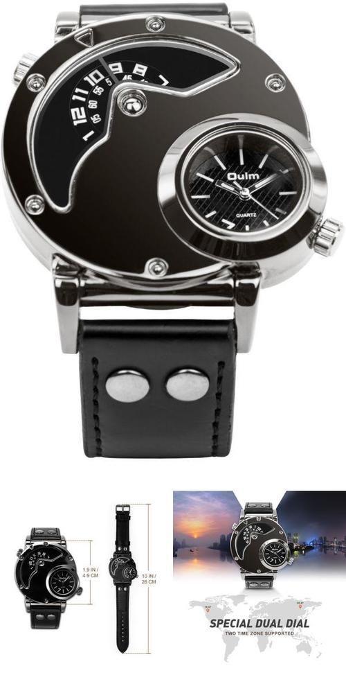 Men's Unique Analog Watch Fashion Dress Quartz Watches Dual Time  #Aposon