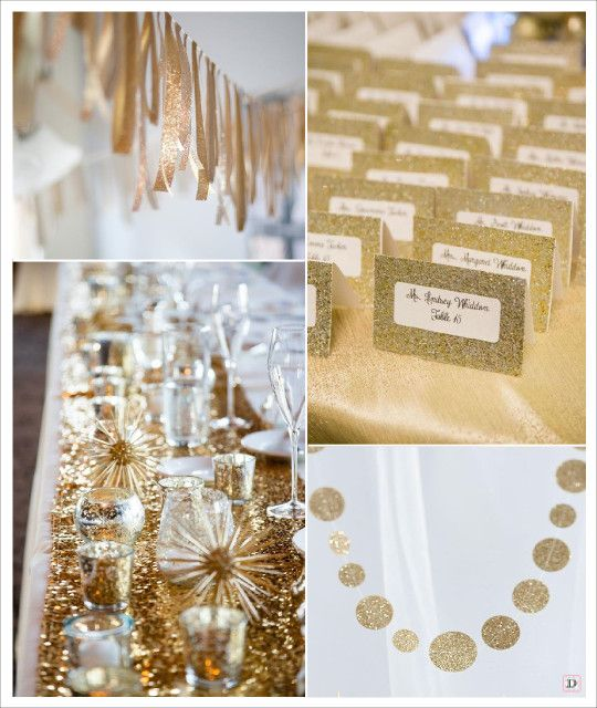 mariage paillette glitter or guirlande de rubans chemin de table sequins dorés guirlande pois or