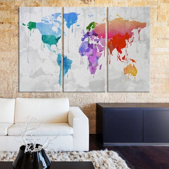 40 best world map canvas images on pinterest extra large wall watercolor predominantly blue and red colorful world map large wall art canvas gumiabroncs Images
