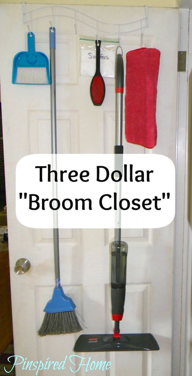 Turn an inexpensive over-the-door hook into the perfect broom and mop storage solution. | 7 Quick Organizing Tricks You'll Actually Want To Try