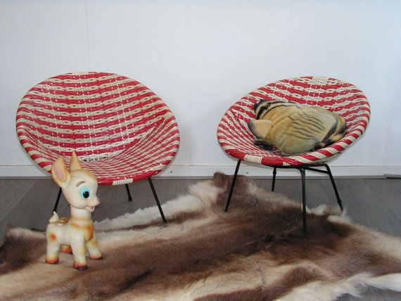 Vintage set of two red white wickerwork design child's bucket chairs,  The Jam…