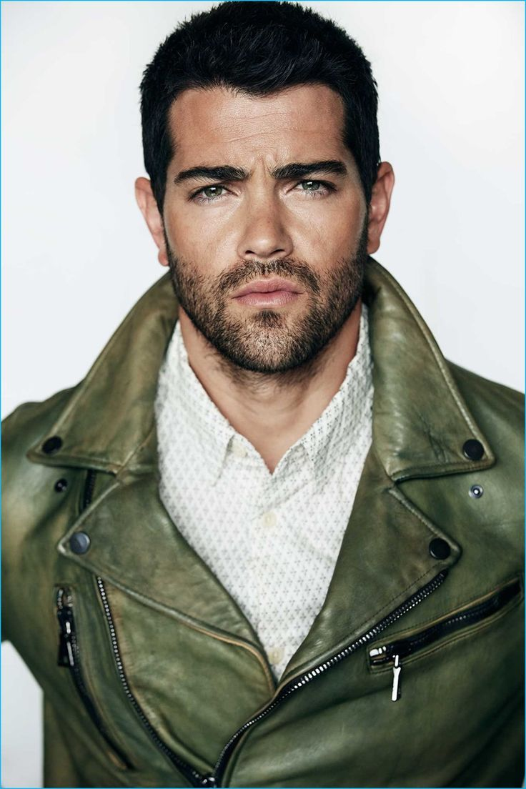 Jesse Metcalfe sports a green leather biker jacket from John Varvatos with a  Cake for Monarchs shirt.