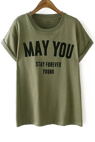 Letters Pattern Short Sleeve Round Neck T-Shirt
