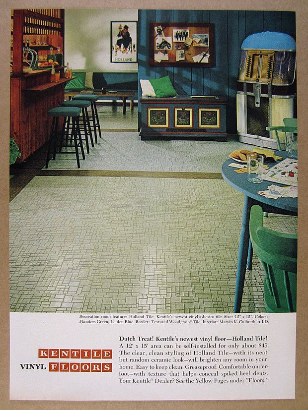 Vintage1965 Kentile Floor Tile Mid Century Rec Room Photo Vintage Print Ad How About Some Asbestos Floor Vinyl Flooring Luxury Vinyl Plank Flooring Flooring
