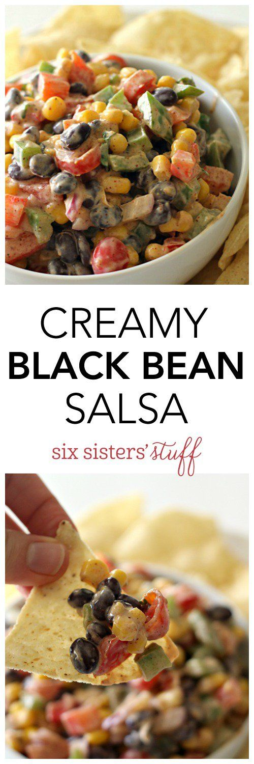 Creamy Black Bean Salsa on SixSistersStuff.com