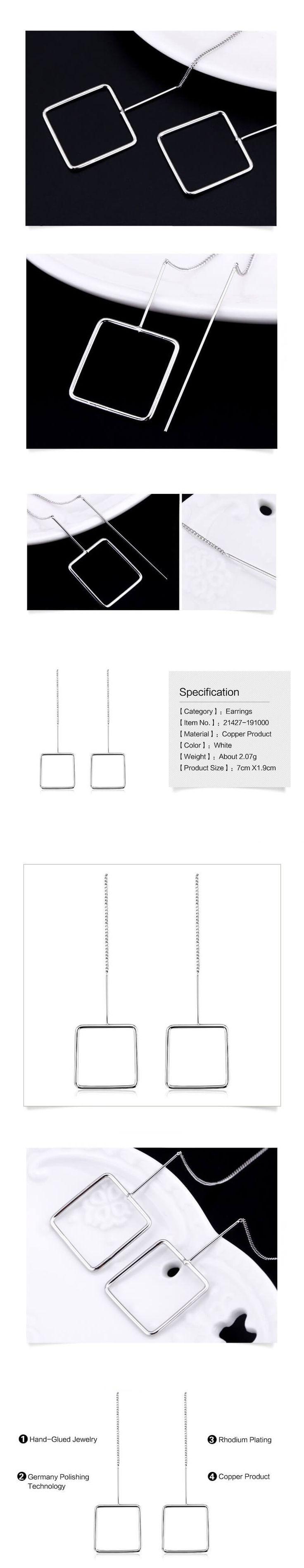 Hosszú láncos négyzet alakú fülbevaló
