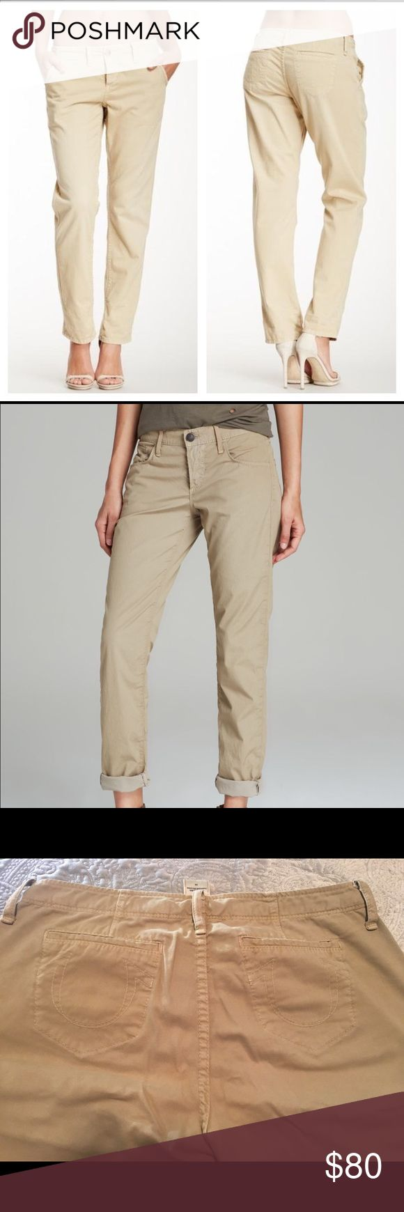 Women's True Religion boyfriend khaki Cargos 28 Like new ladies True Religion cargos, boyfriend pants style/fit. Size 28, great to dress up or down. Perfect condition, 100% Authentic. Ask any questions, and feel free to bundle for a discount 👗👙👚👘👖 True Religion Pants