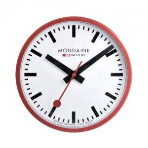 The Official Swiss Railway Wall Clock Is Available Now From Mondaine Mondain In White Black And Red