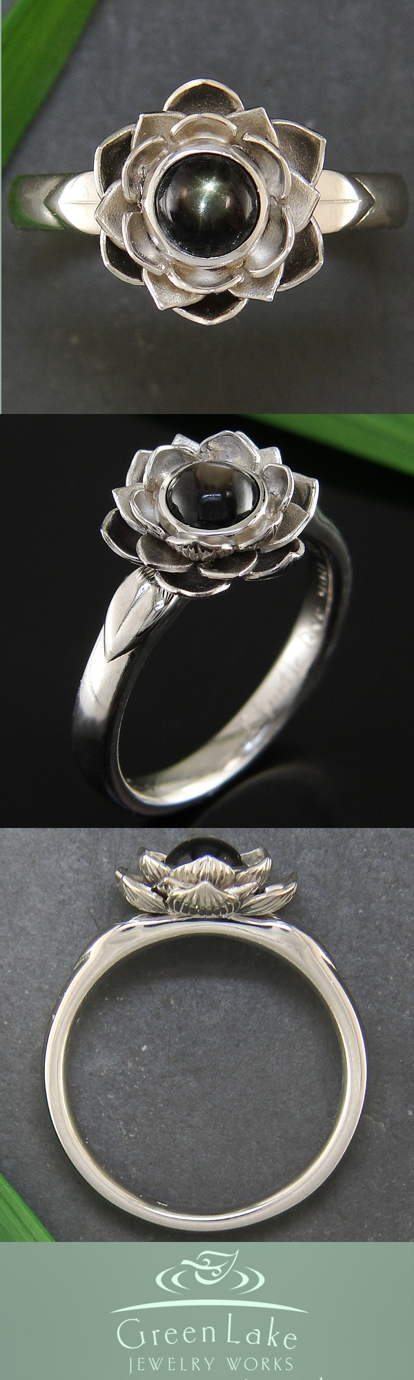 Handmade lotus ring in platinum with a black star sapphire center.