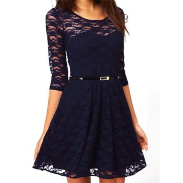 daditong womens spoon neck 3 4 sleeve lace skater dress belt