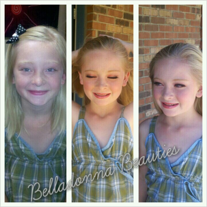 Before and after. Childrens makeup for Ballet recital