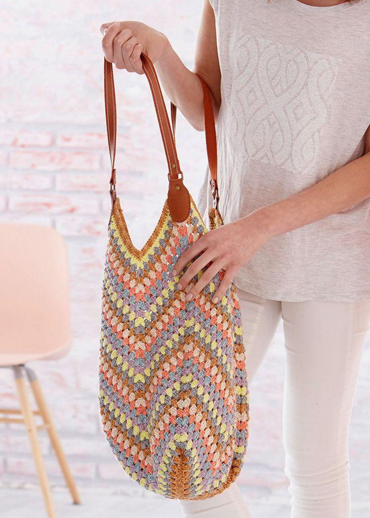 Kostenlose #Anleitung – Diese #Häkeltasche ist mit einem Umfang von etwa 84 cm …
