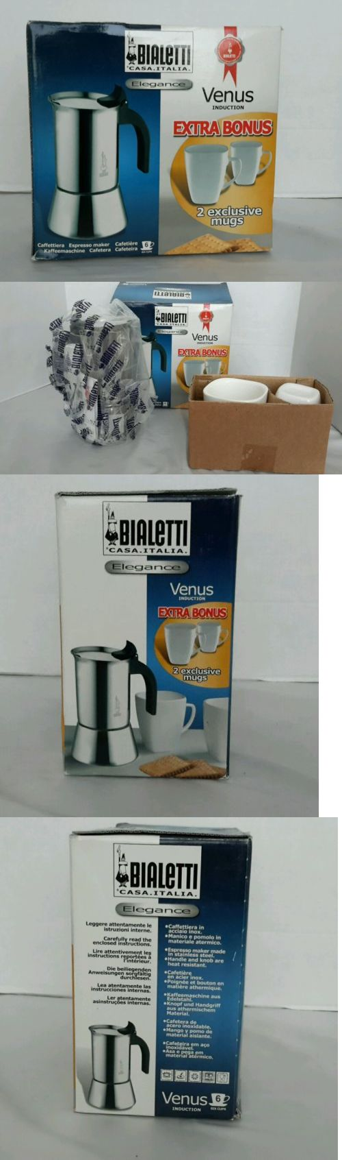 Percolators and Moka Pots 116012: Bialetti Elegance Caffettiera Espresso Maker Venus Induction 6 Cups With 2 Mugs -> BUY IT NOW ONLY: $44.99 on eBay!