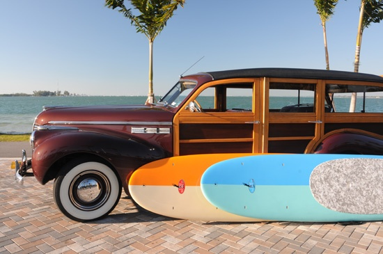 Paddleboarding - with a classic car!