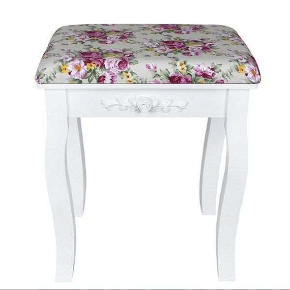 Small Dressing Table Stool Girls Bedroom Desk Chair Removable Cushion Pouf Wood #Songmics #Baroque