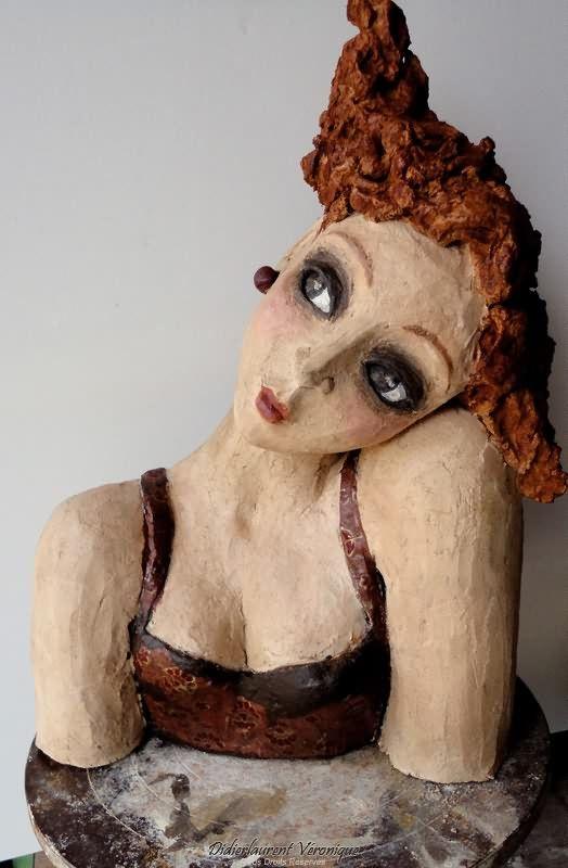 """Bust Sculpture - """"Hair-plane"""" by Véronique Didierlaurent, Terracotta, Chamotée & Patina"""