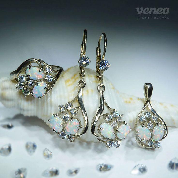 Penelope Set. Beautiful Handmade Sterling Silver or 14K Gold White Opal Set. Opal Ring, Opal Earrings, Opal Pendant. For women.FREE shipping by Veneo on Etsy