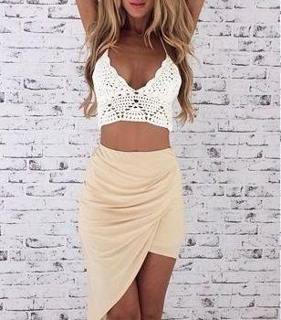 #street #style draped skirt + crochet crop top @wachabuy