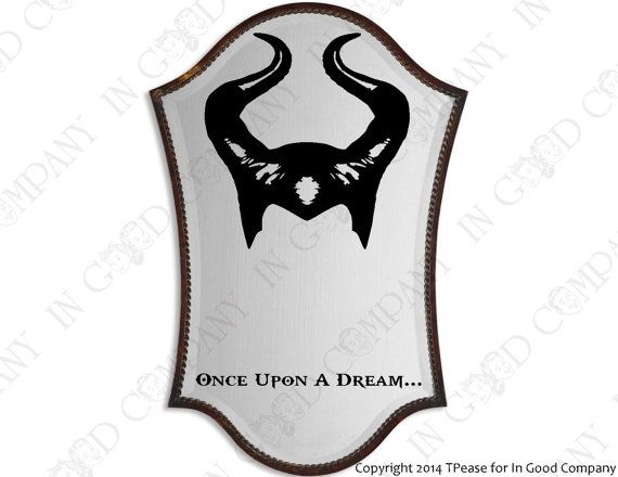 """Disney's Maleficent Inspired Mirror Decal - Headpiece / Headdress -""""Once Upon A Dream..."""""""