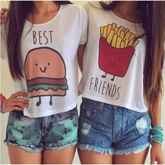 Burger and Fries Best Friends Crop Top T Shirts
