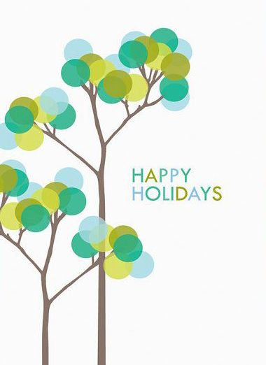 HAPPY HOLIDAYS - a colorful tree in greens and blues