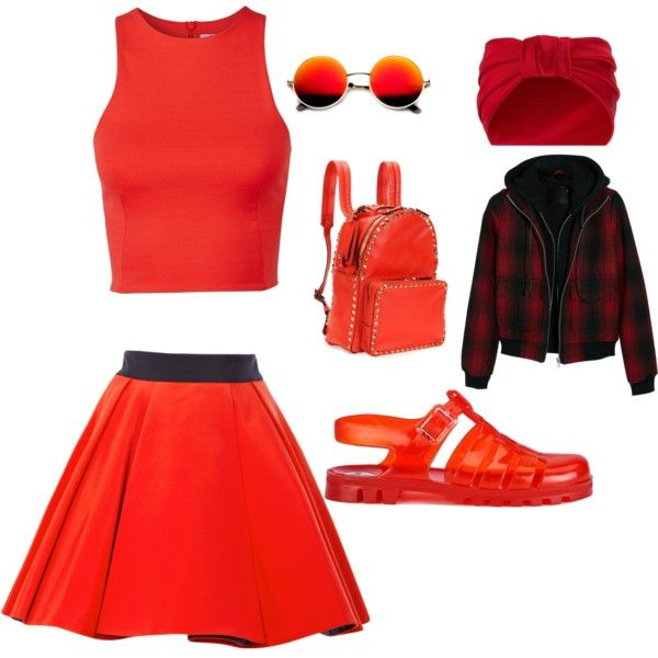 Madam red by madamblue25 on Polyvore featuring polyvore fashion style T By Alexander Wang R13 FAUSTO PUGLISI JuJu Valentino Jennifer Behr Revo red beautiful shoes redlips