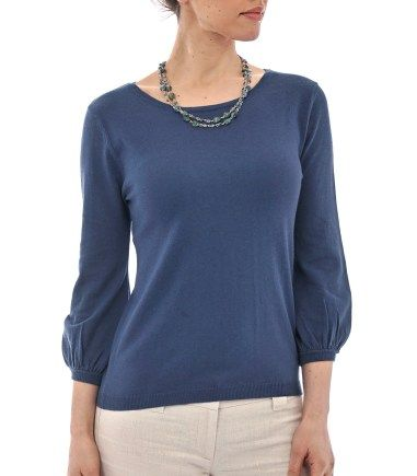 Wool Overs Womens Blouse Sleeved Jumper French Navy