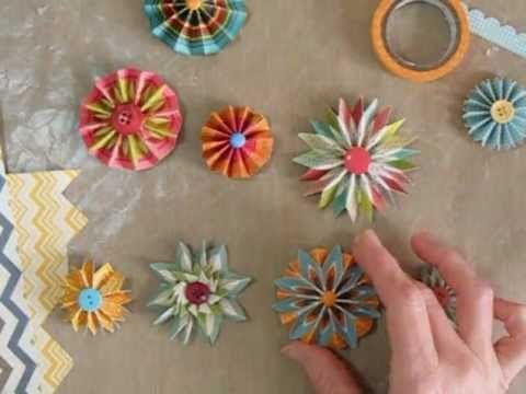Making Accordion Flowers or Rosettes with Chevron papers - YouTube