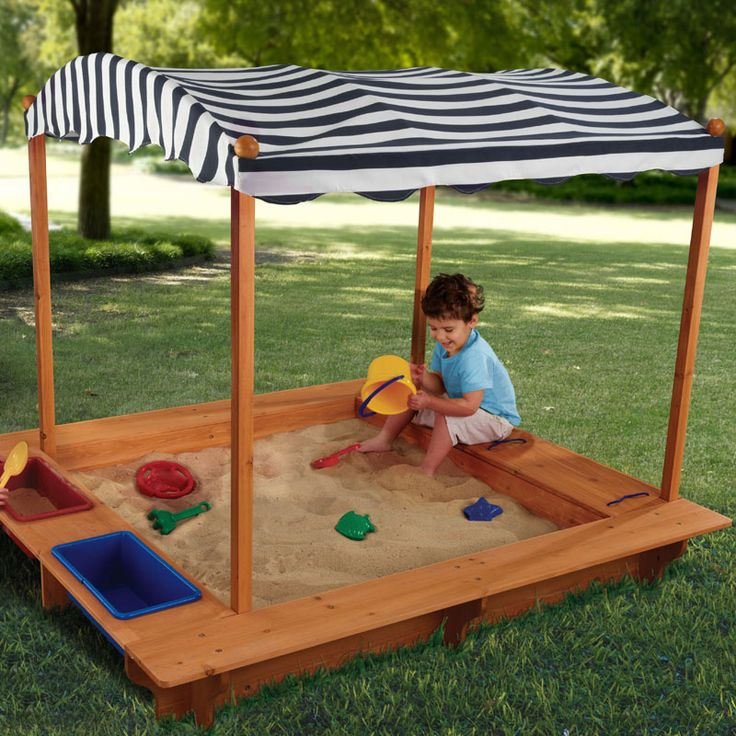 Great idea - kids can play outside in the sandbox and stay shaded from the sun!