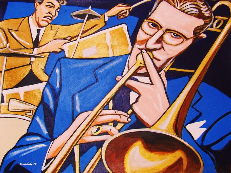 "TOMMY DORSEY PRINT POSTER man cave guitar cd lp record album vinyl Trombone orchestra big band frank sinatra greatest hits gene krupa. CHOOSE PRINT SIZES 9x12"" ($70) or 18x24"" ($130)-This quality giclee print is part of my extensive portfolio. I am the artist John Froehlich, aka FRO-ART-This is a ""READY TO FRAME"" REPRODUCTION PRINT on quality gloss archival paper.-PRINT will be professionally packed and shipped in a sturdy mailing tube, via USPS Priority Mail.-My vibrant colored artwork…"