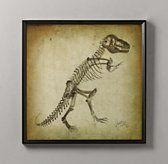 For E's big boy room - Dinosaur Skeleton Art