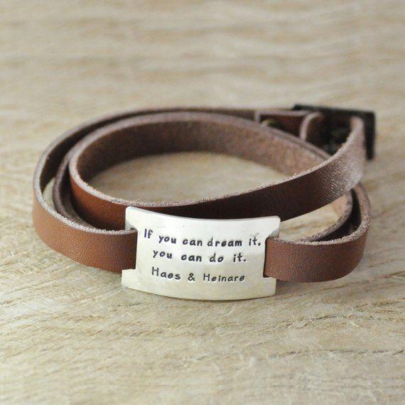 Custom message bracelet-stack leather chain-sterling silver charm-handstamp-name bracelet-sport bracelet for man gift for boyfriend