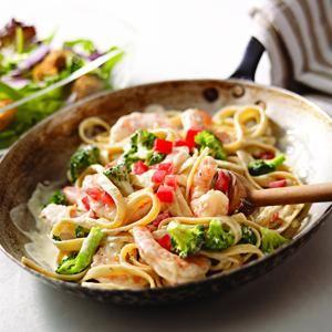 Shrimp & Broccoli Fettuccine..made with Philadelphia Savory Lemon & Herb Cooking Crème