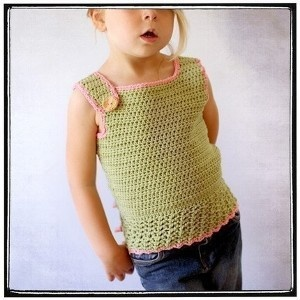 TankTop - Crochet 12mth-6T  ~very clever, one strap buttons in front and the other in back...